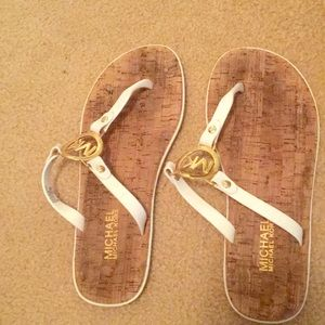 White and gold Michael Kors Sandals size 7